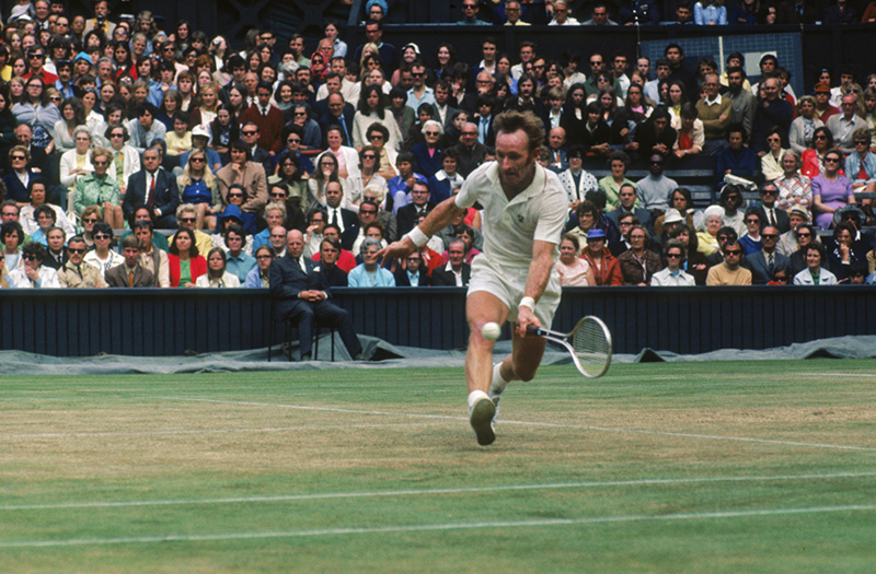 Australian tennis player Rod Laver competing in the Men's Singles tournament at the Wimbledon Lawn Tennis Championships, London, 1971. (Photo by Frank Tewkesbury Getty Images)