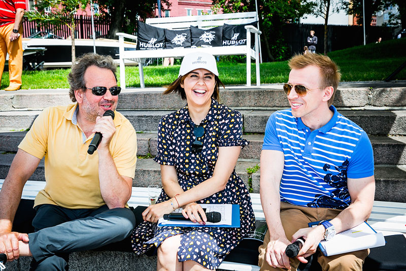 Андрей Бойко, Ольга Шелест и Антон Камолов. Ведущие Hublot Boat Trophy