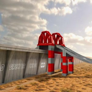 LEGO creative poster - bridge Mexico USA border